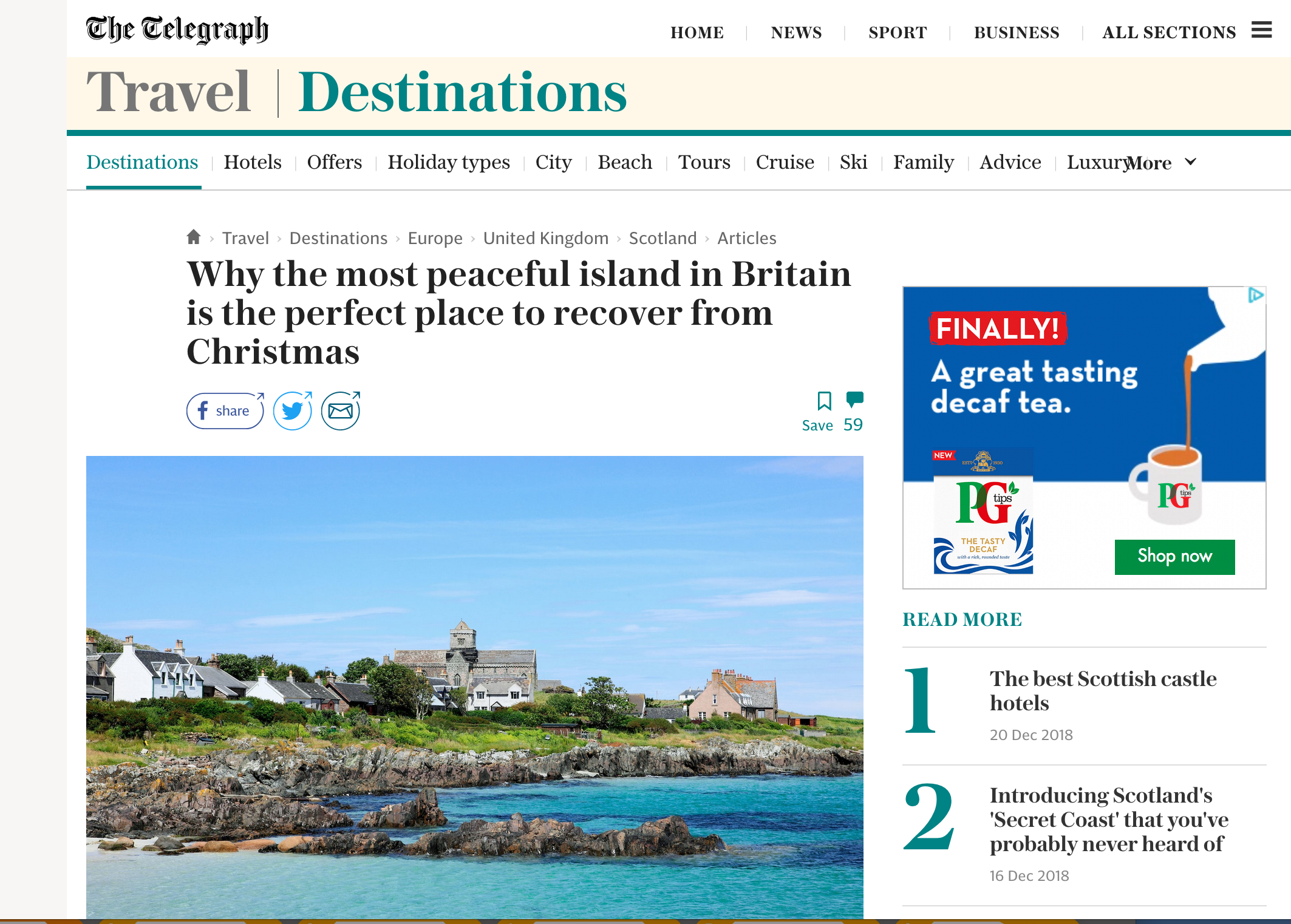 Iona in winter for the Telegraph