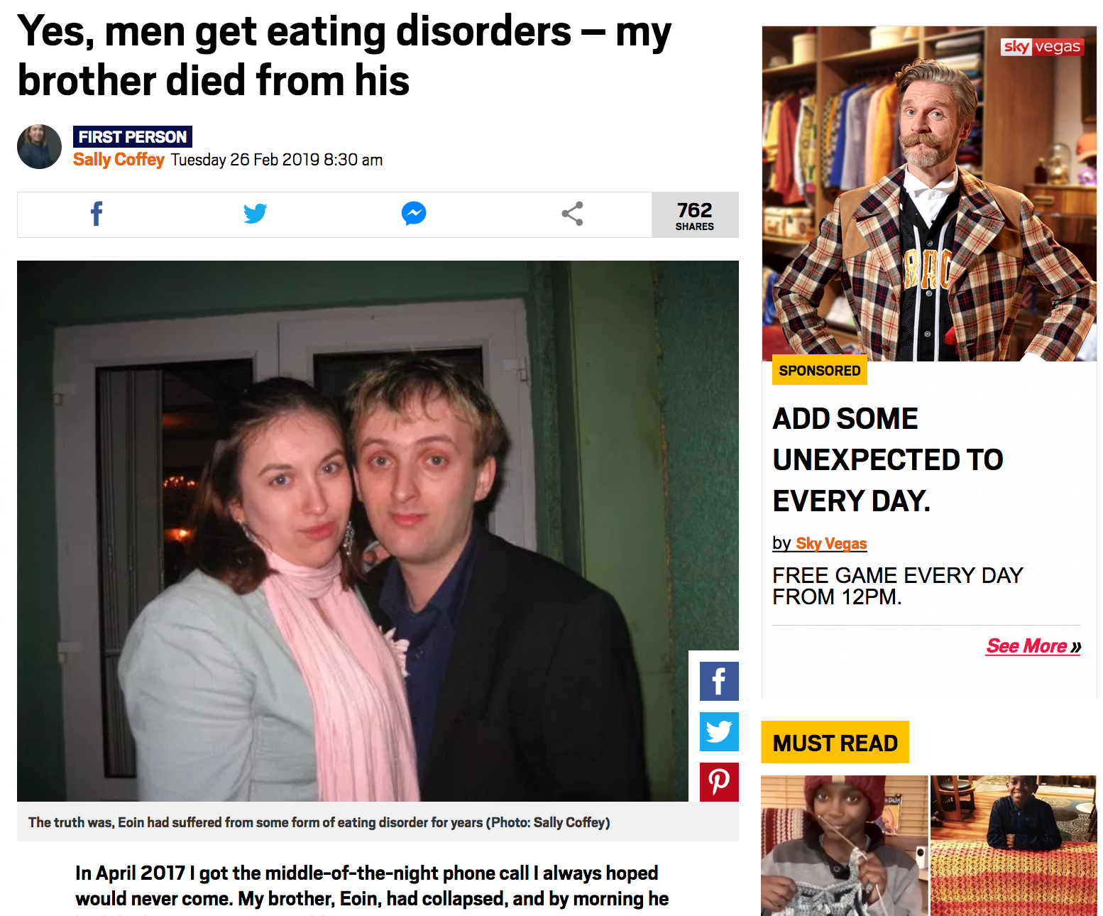 Men do get eating disorders - my brother died of his